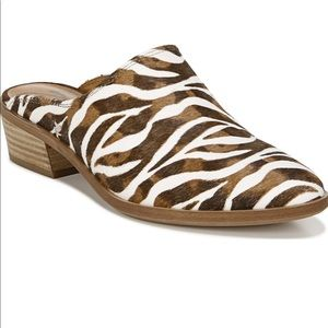 Zodiac Zebra Sueded Leather Slip On Mules Shoes